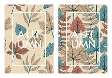 Vector set with two autumn cards with hand drawn tree leaves. template design for cards, covers, packaging Stock Photography