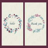 Vector set of two cards with greeting and drawn words hello and thank you in a circle flower frame Stock Photos