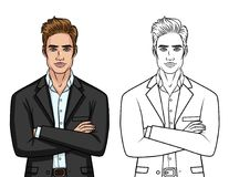 Vector set of two elegant gentleman`s: colorful character and line silhouette isolated from white background. Handsome guy in suit standing in front with Royalty Free Stock Images