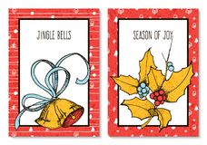 Vector set with two greeting christmas cards with hand drawn holly and bells. design for cards, covers, presents Stock Photos