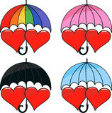 Vector set of two hearts under umbrella Stock Photos