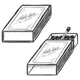 Vector Set of Two Matchboxes. Open and Closed. Royalty Free Stock Photos
