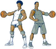 Vector Set of Two Modern and Retro Basketball Players royalty free illustration