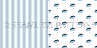 Set of two seamless patterns in blue color royalty free illustration