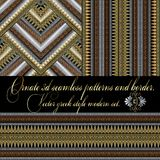 3d greek vector seamless patterns and border. Set. Vector set. Two striped greek style 3d seamless patterns and one greek key meander border. Modern ornate Stock Photo