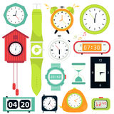 Vector set. Types of alarms clocks Stock Photos