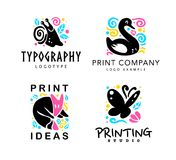 Vector set of typography and design studio logo with cute animals - fox, snail, swan and butterfly. stock illustration
