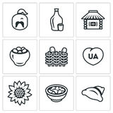 Vector Set of Ukraine Icons. Kazak, Vodka, Village, Potato, Wicker Fence, Patriot, Sunflower, Cuisine, Dumplings. Stock Photo