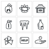 Vector Set of Ukraine issues Icons. Cossack, Gas, House, Temperature, Winter, Alcohol, Fuel, Help, Loan. Stock Images