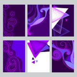 Vector set with Ultra violet card in dotwork style. Dotted swirls and triangles in trendy violet and white colors. vector illustration
