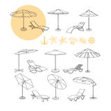 Vector set of umbrella, deck chair icons, sea symbols. Vector set of umbrella, deck chair icons, sea symbols starfish, wheel, shell, crab and anchor black and Stock Images