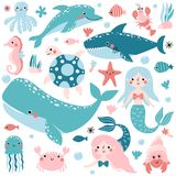 Vector set of underwater animals and mermaids stock illustration