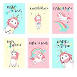 Vector set of unicorn birthday greeting cards. Magic unicorn birthday greeting cards. Vector hand drawn illustration. Happy birthday card templates for kids with vector illustration