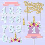 Vector set with Unicorn Party text, Unicorn Tiara, Horn, number. Unicorn Party lettering as patch, stick cake toppers, laser cut plastic, wooden toppers Royalty Free Stock Images