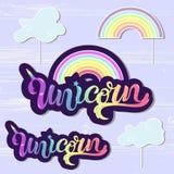 Vector set with Unicorn, Rainbow, Handwritten lettering Unicorn