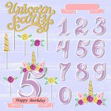 Vector set with Unicorn Tiara, Numbers, Horn, flower.