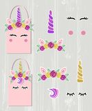 Vector set with Unicorn Tiara, Unicorn Horn, swirl, eyes
