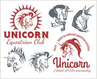 Vector set  - Unicorns and horses equestrian Stock Photos