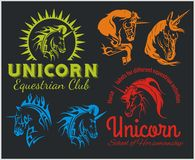 Vector set  - Unicorns and horses equestrian Stock Image