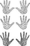 Vector set of uniqe hand-drawn hands Stock Photography