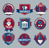 Vector set of university and college school badges. Royalty Free Stock Photos