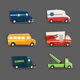 Vector set of urban vehicles featuring police car, ambulance, sc. Hool bus, fire truck, tow truck and cargo truck. EPS 10 file Royalty Free Stock Photography