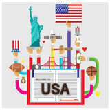 Vector set usa White House Statue of Liberty rugby flat illustration Stock Image
