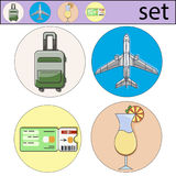 Vector set of vacation. Icon and logo of airplane, cocktail, ticket, travel bag. Vector illustration set of vacation. Icon and logo of airplane, cocktail, ticket Royalty Free Stock Photography