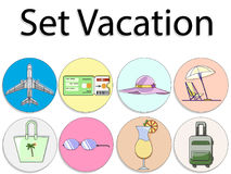 Vector set of vacation. Icon and logo of airplane, cocktail, ticket, travel bag. Vector illustration set of vacation. Icon and logo of airplane, cocktail, ticket Royalty Free Stock Photos