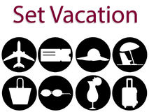 Vector set of vacation. Icon and logo of airplane, cocktail, ticket, travel bag. Vector illustration set of vacation. Icon and logo of airplane, cocktail, ticket Stock Images