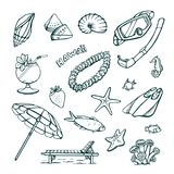 Vector set of vacation at sea. Isolated hand drawings on a white background stock photo
