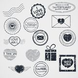 Vector Set of Valentine Day stamps stock illustration