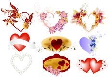 Vector set of valentine hearts Royalty Free Stock Photography