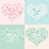 Vector set. Valentine hearts with text love you Royalty Free Stock Image