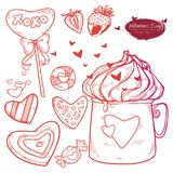 Vector set Valentine`s day. Hand drawn illustration sweets, cookies, strawberries, a cup of hot chocolate, hearts royalty free illustration