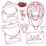 Vector set Valentine`s day. Hand drawn illustration variants of the message in the envelope, love letter, balloon, key, wax seal stock illustration