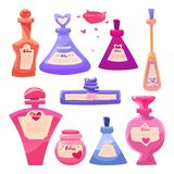 Vector set Valentine`s day items bottles of magic love potion. vector illustration