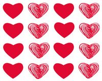 Vector set of Valentine`s day with red hearts on white background. Seamless Royalty Free Stock Photos