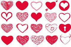 Vector set of Valentine`s Day red hearts on white background. Vector set of Valentine`s day with red hearts on white background seamless Royalty Free Stock Image