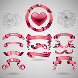 Vector set of valentines day banners Stock Images