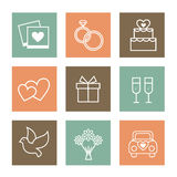 Vector set of valentines day illustrations and. Illustration pictures on the theme of Valentine Day love in retro colors and flat style Stock Photography