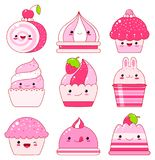 Collection of jelly, ice cream, marshmallows, cupcakes with berr. Vector set of vanilla, blueberry, currant, strawberry jelly, ice cream, marshmallows, cupcake Royalty Free Stock Photos