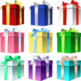 vector Set varicolored gift box with ribbon bow Royalty Free Stock Photos