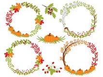 Vector Set of Various Autumn Wreaths Royalty Free Stock Photos