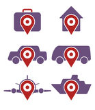 Vector set of various booking icons. Accommodation, and transportation Royalty Free Stock Photo