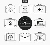 Vector set various briefcases. Illustration of business suitcase in thin line style. Icons, that illustrate lifestyle Royalty Free Stock Images