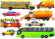 Vector set of various city urban traffic, isolated on white. Veh Royalty Free Stock Photos
