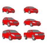 Vector set of various city urban traffic vehicles icons compact, sedan, suv, van, pickup Royalty Free Stock Photo