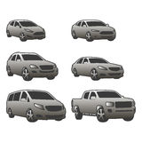 Vector set of various city urban traffic vehicles icons compact, sedan, suv, van, pickup Stock Images