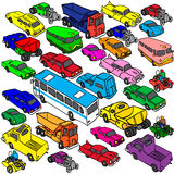 Vector set of various city urban vehicles. isometric view,  Royalty Free Stock Photo